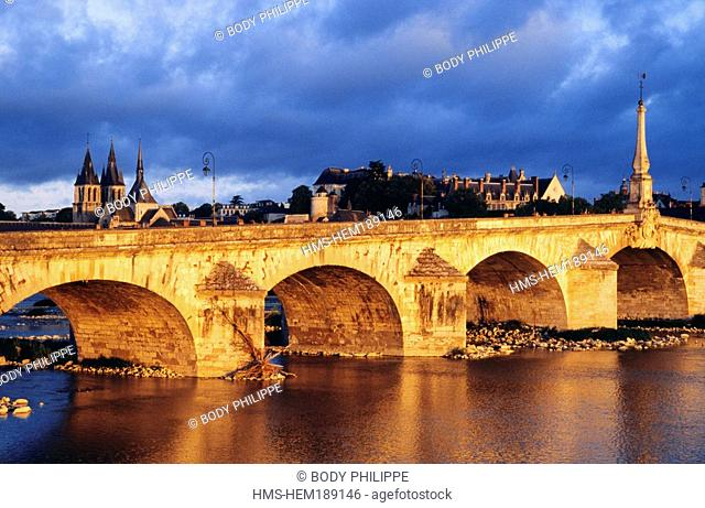 France, Loir et Cher, Loire Valley listed as World Heritage by UNESCO, Blois, J. Gabriel Bridge, Saint Nicolas Church in the background