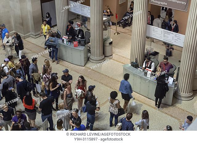 Visitors on line to pay admission to the Metropolitan Museum of Art in New York on Monday, May 28, 2018. Earlier this year the museum started a two tier...