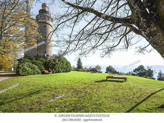 lookout tower on the Merkur with lawn for sunbath, landmark mountain of the spa town Baden-Baden, Germany