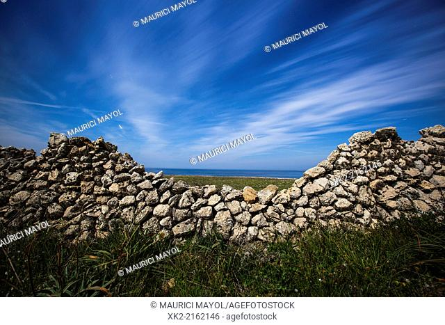 Paret seca, Traditional stone wall in Menorca, Balearic Islands, Spain