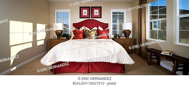 Bedroom in traditional American home, Tustin, California, USA