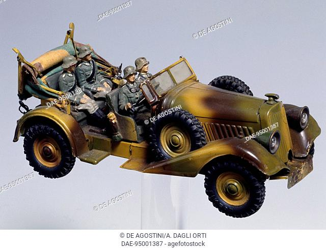 Horch 830 automobile for transporting officials, 1936, scale model made by Lineol. Germany, 20th century.  Milan, Museo Del Giocattolo E Del Bambino (Toys...