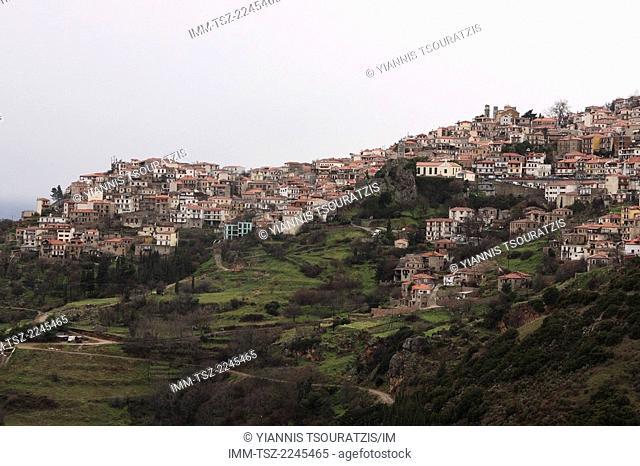 View of Arachova town. Kellaria, Parnassos, Arachova, Viotia, Central Greece, Europe