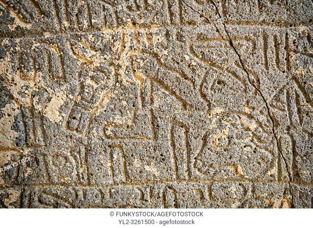 Pictures & images of the South Gate ancient Hittite stele stone slabs with carvings of the Luwian language hieroglyphics known as the Karatepe bilingual