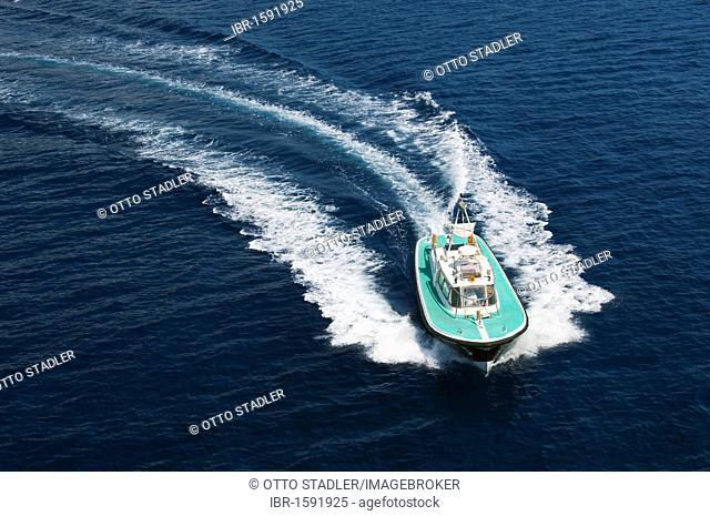 Pilot cutter under way, Corsica, France, Europe