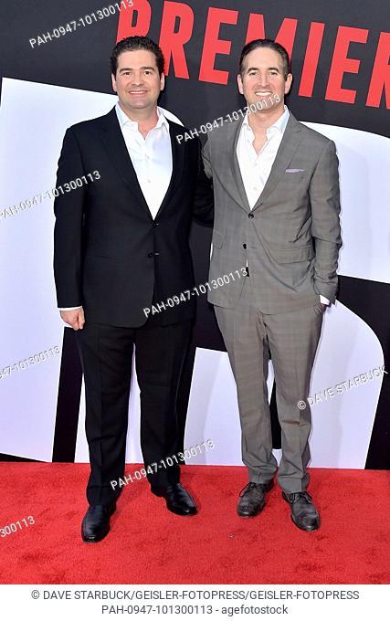 Jon Hurwitz and Hayden Schlossberg attending the 'Blockers' premiere at Regency Village Theater on April 3, 2018 in Los Angeles, California