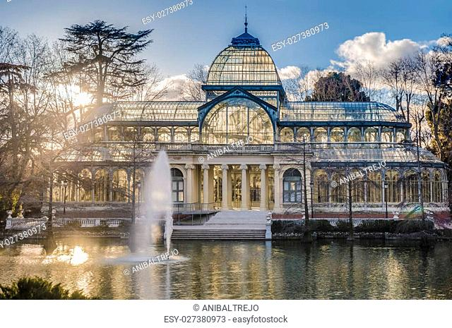 The Crystal Palace (Palacio de Cristal), a glass and metal structure built by Ricardo Velazquez Bosco in 1887 to exhibit flora and fauna from the Philippines on...