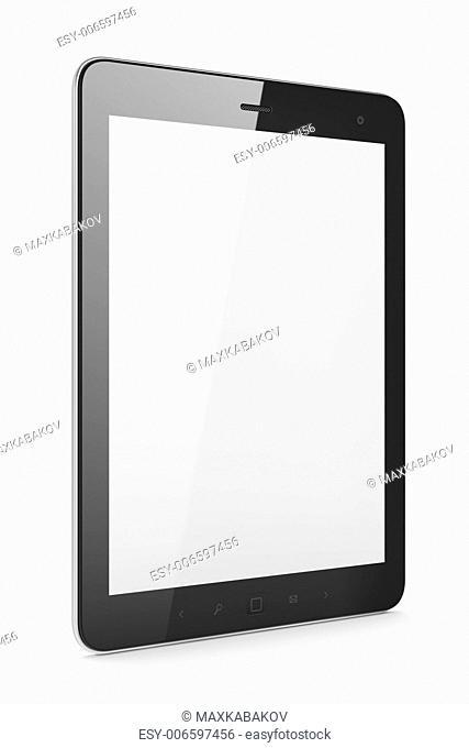 High-detailed black tablet pc on white background, 3d render