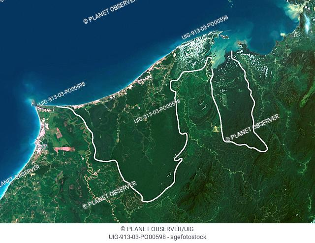 Brunei, Asia, True Colour Satellite Image With Border. Satellite view of Brunei with border. This image was compiled from data acquired by LANDSAT 5 & 7...