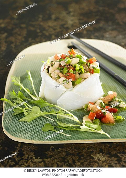 carpaccio de bacalao con verduras / Cod carpaccio with vegetables