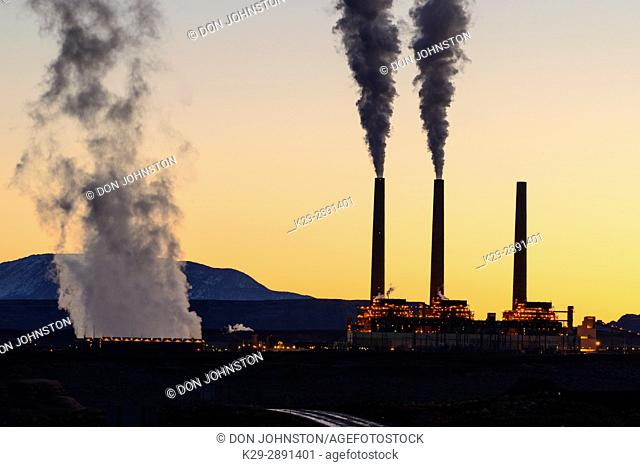 Navajo Generating Station. Coal-fired power plant at dawn, Page, Arizona, USA