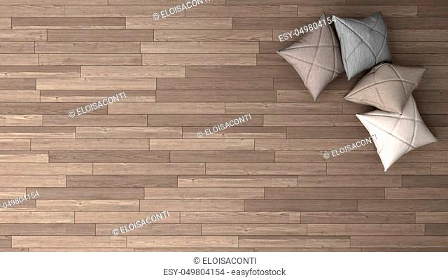 Stylish background with parquet and soft pillows, top view