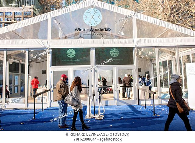 Google's Winter Wonderlab pop-up in Bryant Park in New York. The minimalist store, one of six Google has set up around the country to hawk its products