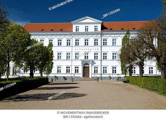Paedagogium school and college at the Circus in Putbus, Ruegen island, Mecklenburg-Western Pomerania, Germany, Europe