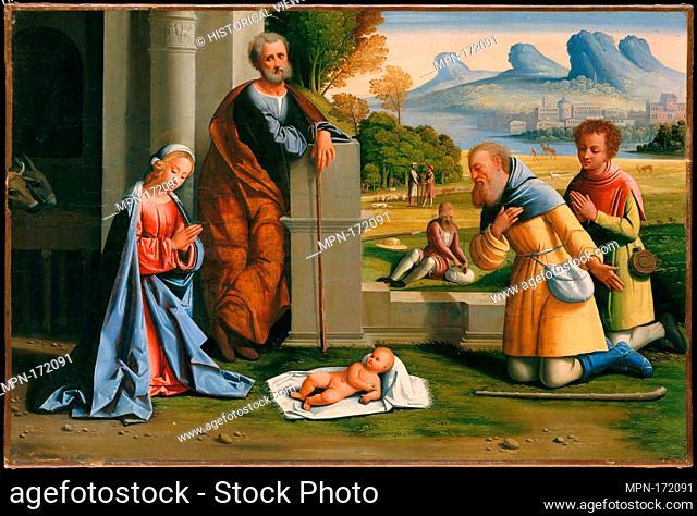 The Adoration of the Shepherds. Artist: L'Ortolano (Giovanni Battista Benvenuti) (Italian, Ferrarese, active by 1512-died after 1527); Medium: Oil on canvas