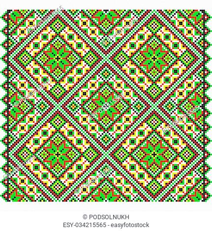 Embroidery. Ukrainian national ornament decoration. Vector illustration