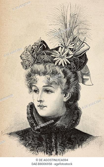 Woman wearing a felt hat, creation by Madame Colombin, engraving from La Mode Illustree, n 43, October 27, 1895, Paris