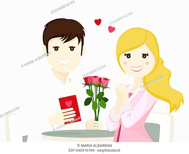 Couple of lovers in a dating on white background