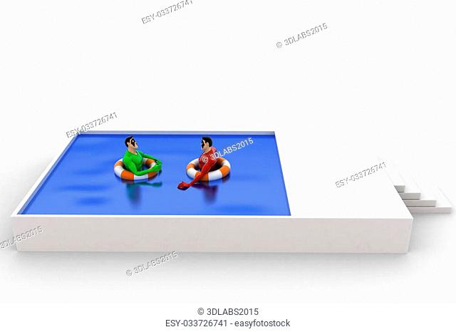3d superhero swimming in pool with float and another superhero concept on white background, front angle view