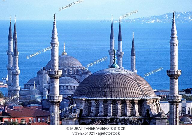 Nuruosmaniye Mosque and Blue Mosque. Istanbul, Turkey