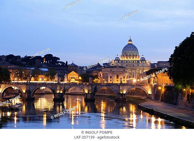 St. Peter's Basilica in the evening, Vatican City, Rome, Italy