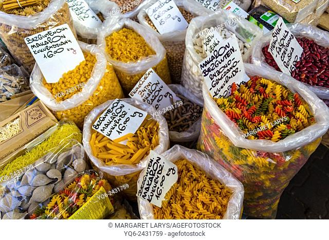 Selection of pasta at the food market in Krakow, Poland