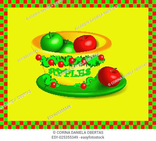 Vectors - Bowl with apples descorated for Christmas
