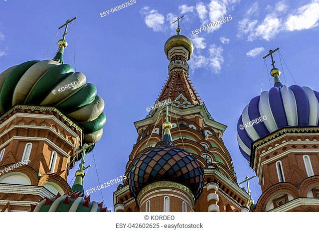 The Domes Of St. Basil's Cathedral. Russia Moscow, Red square