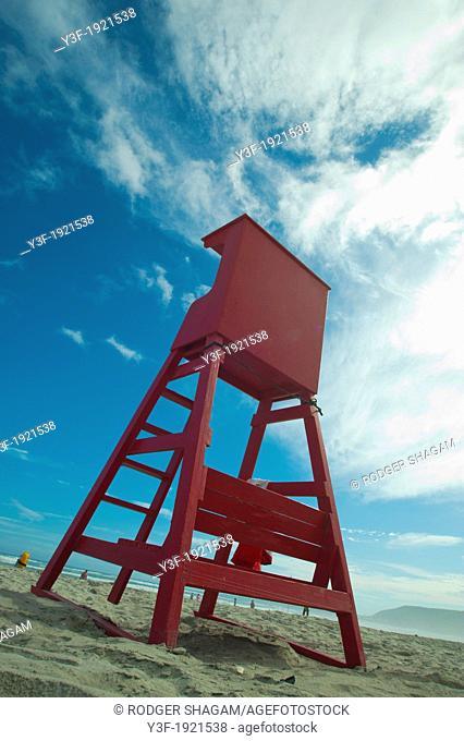 A lifeguard station on the beach. High chair