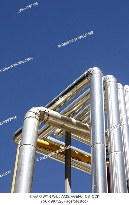 metal steel tubes of air conditioning plant system