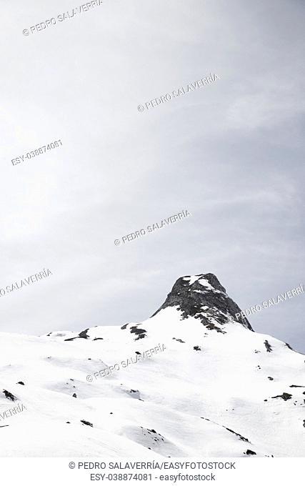Snowy peak in Ossau Valley, France