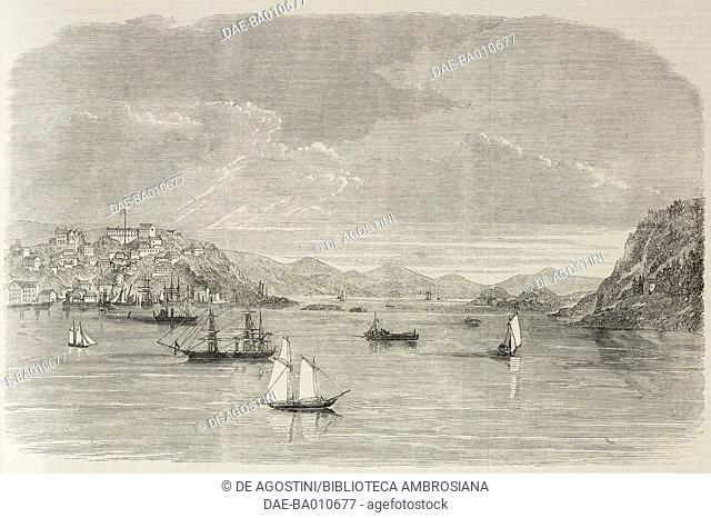 View of Eastport, Maine, United States of America, illustration from the magazine The Illustrated London News, volume XLVIII, May 5, 1866