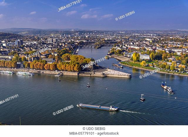 Germany, Rhineland-Palatinate, upper Middle Rhine Valley, Koblenz, cityscape, the Rhine, Moselle mouth, Deutsches Eck, cable car