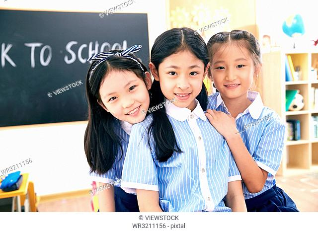 Cute little girls in the classroom