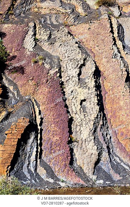 Colorful vertical strata composed of red sandstone and black lutites rich in organic matter. . This geological formation known as Ribero Pintado is located in...