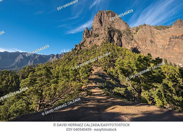 Cumbrecita mountains in Caldera de taburiente national park, La Palma, Canary islands, Spain