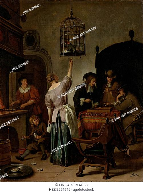 Interior With A Woman Feeding A Parrot Two Men Playing Backgammon And Other Figures (The Parrot Cage), 1670. Found in the collection of the Rijksmuseum