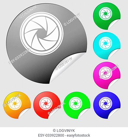 diaphragm icon. Aperture sign. Set of eight multi colored round buttons, stickers. Vector illustration