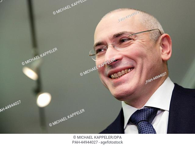 Russian former oil tycoon Mikhail Khodorkovsky arrives to hold a press conference at the Berlin Wall Museum, in Berlin, Germany