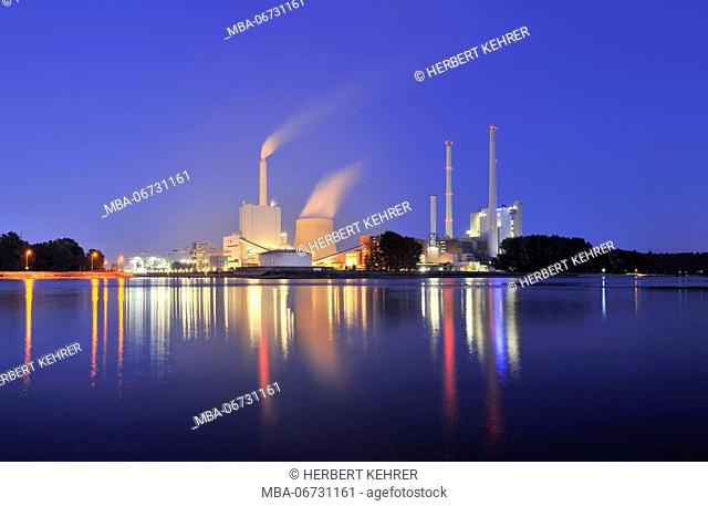 Germany, Baden-Wurttemberg, Karlsruhe, steam power plant, EnBW electricity and gas provider