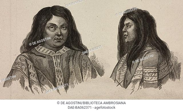 Portrait of a Mapuche woman, Chile, engraving by Vernier from Chili, Paraguay, Buenos-Ayres, by Cesar Famin, Patagonie, Terre-du-Feu e Archipel des Malouines
