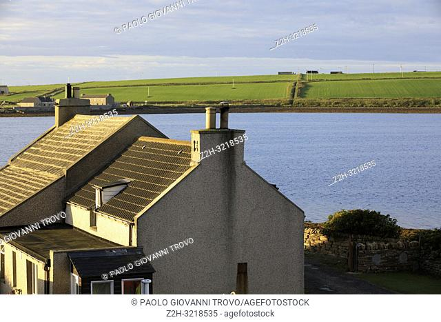 A house near harbour of Scapa Flow, Orkney, Scotland, Highlands, United Kingdom