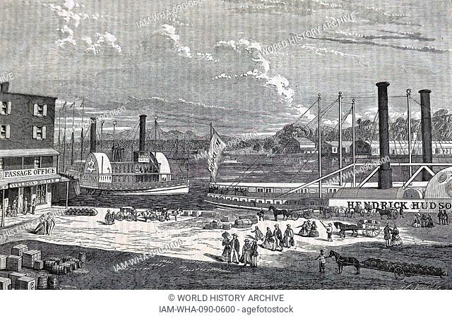 Illustration depicting paddle steamers at Albany on the Hudson. Dated 19th Century