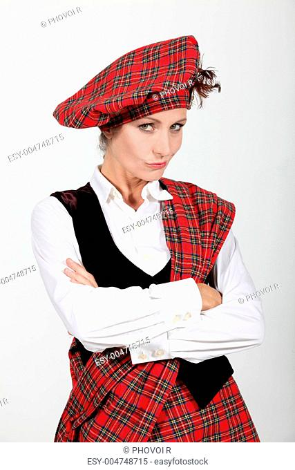 Woman wearing traditional scottish clothing Stock Photos and