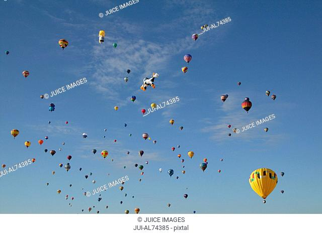 View of hot-air balloons against blue sky, Balloon Festival, Albuquerque, New Mexico, USA