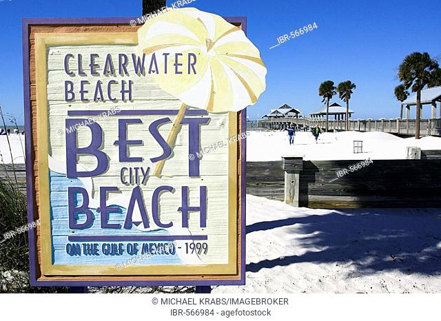 Sign, Clearwater Beach in Florida, USA