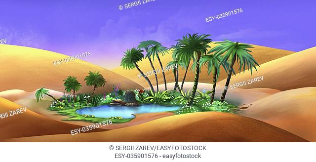 Digital painting of the Oasis in a Desert