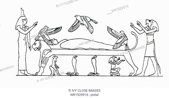 Osiris is shown here, ithyphallic, mummied, and neardless, lying on his bier. He is watche dover by three hawks, and by Isis, who stands at the head