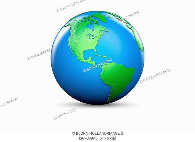Blue and green globe of North and South America