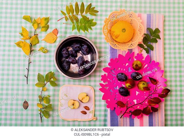 Black grapes, apples and squash